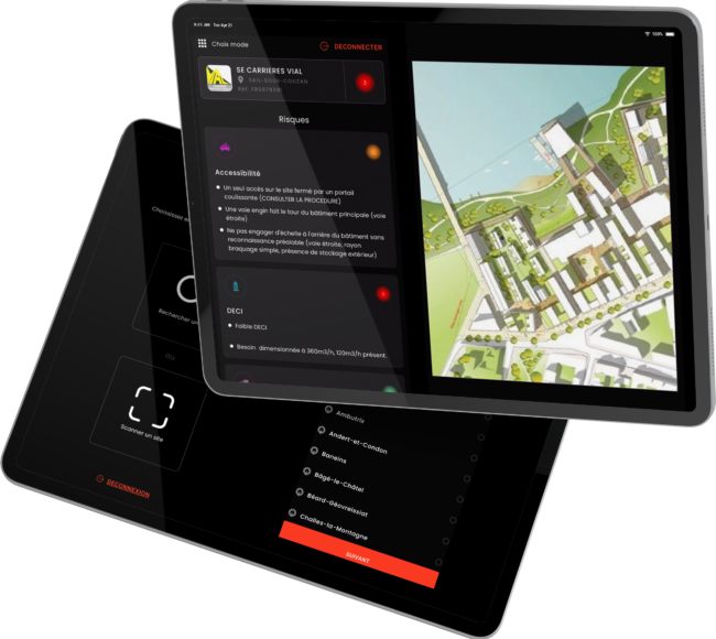 tablette, application, QR code, plan d'intervention, plan du site